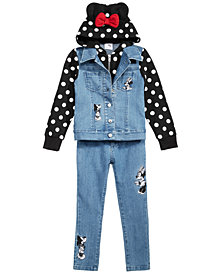 Disney Toddler & Little Girls Embroidered Jeans & Layered-Look Jacket
