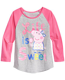 Peppa Pig Little Girls Graphic-Print Raglan T-Shirt