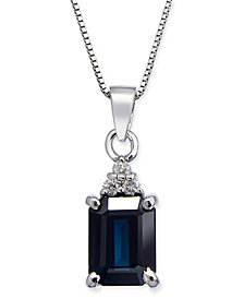 "Sapphire (1-9/10 ct. t.w.) & Diamond Accent 18"" Pendant Necklace in 14k White Gold"
