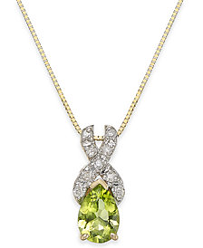 "Peridot (3/4 ct. t.w.) & Diamond (1/10 ct. t.w.) 18"" Pendant Necklace in 14k Gold"