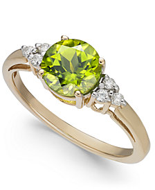 Peridot (1-1/2 ct. t.w.) & Diamond Accent Ring in 14k Gold