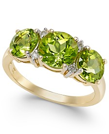 Peridot (3-1/2 ct. t.w.) & Diamond Accent Ring in 14k Gold