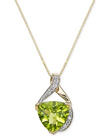 "Peridot (3-3/4 ct. t.w.) Trillion & Diamond Accent 18"" Pendant Necklace in 14k Gold"