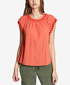 Sanctuary Gobi Cotton Tassel-Trim Shirred-Neck Top