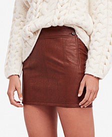 Free People Retro Faux-Leather Mini Skirt