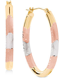 Tricolor Hoop Earrings in 14k Gold