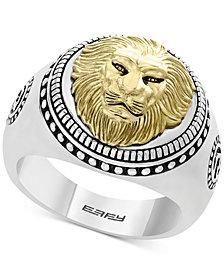 EFFY® Men's Lion Head Ring in Sterling Silver & 18k Gold-Plate