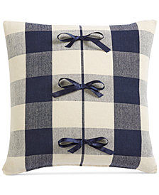 "Oxford Collection Buffalo Check 20"" Square Decorative Pillow, Created for Macy's"