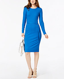 MICHAEL Michael Kors Ribbed Belted Dress
