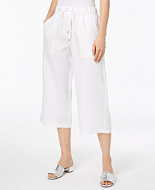 DKNY Cropped Linen Utility Pants