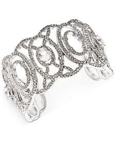 Jenny Packham Silver-Tone Crystal Openwork Cuff Bracelet