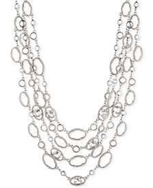 "Jenny Packham Silver-Tone Crystal Four-Row Collar Necklace, 16"" + 2.75"" extender"