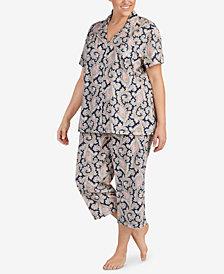 Lauren Ralph Lauren Classic Knits Plus Size Paisley-Print Capri Pajama Set