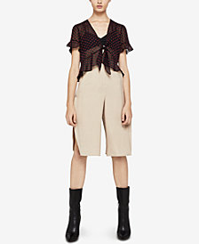 BCBGeneration Ruffled Tie-Front Top