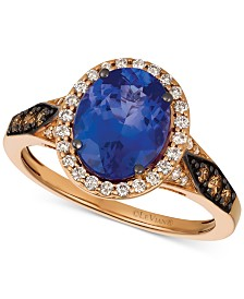 Le Vian Chocolatier® Blueberry Tanzanite (2-1/2 ct. t.w.) & Diamond (3/8 ct. t.w.) Ring in 14k Rose Gold