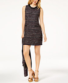 Zoe by Rachel Zoe Faux-Leather-Trim Tweed Dress, Created For Macy's