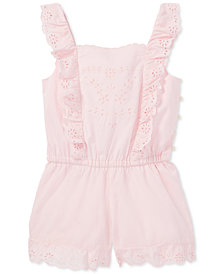 Polo Ralph Lauren Ruffled Cotton Romper, Little Girls