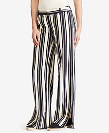 Lauren Ralph Lauren Striped Twill Wide-Leg Pants