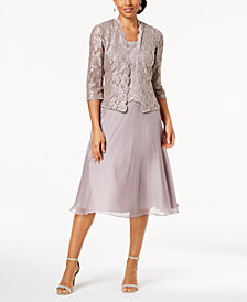 Alex Evenings Petite Midi Dress & Lace Jacket