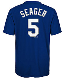 Majestic Corey Seager Los Angeles Dodgers Poly Player T-Shirt, Big Boys (8-20)