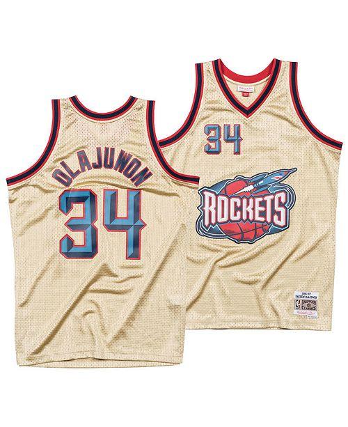newest fd3fd fb5ca Mitchell & Ness Men's Hakeem Olajuwon Houston Rockets Gold ...
