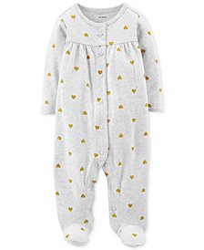 Carter's Baby Girls Heart-Print Footed Cotton Coverall