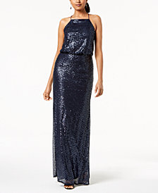 Adrianna Papell Sequined Blouson Halter Gown