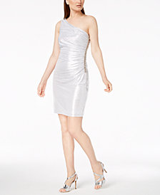 Calvin Klein Metallic Ruched One-Shoulder Dress