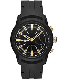 Diesel ON Men's Armbar Black Silicone Strap Hybrid Smart Watch 44mm