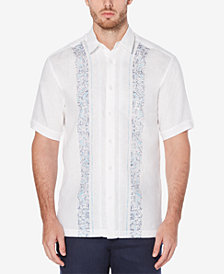 Cubavera Men's Paisley Panel Linen Short-Sleeve Shirt