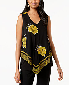 Alfani Embroidered Overlay Top, Created for Macy's