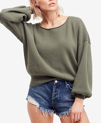 Shadow Crew Blouson Sleeve Sweater by Free People