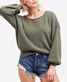 Free People Shadow Crew Blouson-Sleeve Sweater