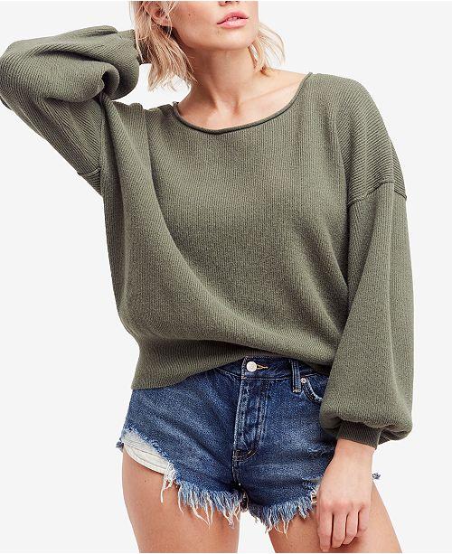 Free People Shadow Crew Blouson-Sleeve Sweater