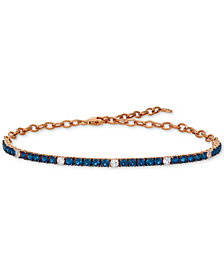 Le Vian® Blueberry (2-1/5 ct. t.w.) & Vanilla (1/3 ct. t.w.) Sapphire Bracelet in 14k Rose Gold (Also Available in Emerald)
