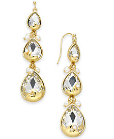 I.N.C. Gold-Tone Crystal & Imitation Pearl Triple Drop Earrings, Created for Macy's