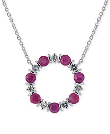 "Ruby (2 ct. t.w.) & White Sapphire (3/4 ct. t.w.) 16"" Pendant Necklace in Sterling Silver"