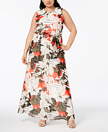 Calvin Klein Plus Size Printed Maxi Dress
