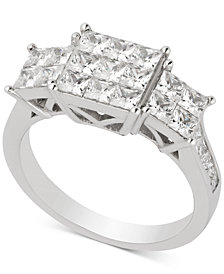 Diamond Princess Cluster Engagement Ring (2 ct. t.w.) in 14k White Gold