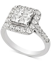 09e8ba82c618d6 Diamond Princess Halo Engagement Ring (2 ct. t.w.) in 14k White Gold