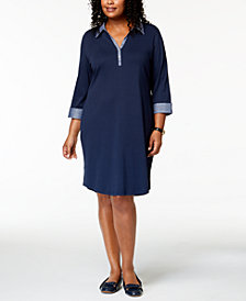 Karen Scott Plus Size 3/4-Sleeve Contrast Shirtdress, Created for Macy's