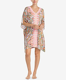 Ellen Tracy Contrast-Stripe Short Caftan