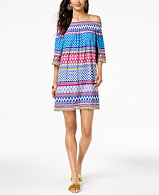 Trina Turk Off-The-Shoulder Emilia Fringe-Trim Dress
