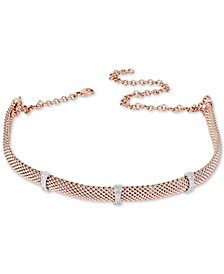 Diamond Station Mesh Choker Necklace (1/4 ct. t.w.) in Sterling Silver & 14k Rose Gold-Plate