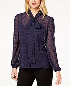 Zoe by Rachel Zoe Polka Dot Flocked Tie-Neck Blouse, Created For Macy's