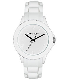 Anne Klein Women's White Silicone Strap Watch 38mm