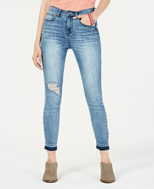 Indigo Rein Juniors' Ripped Released-Hem Skinny Jeans