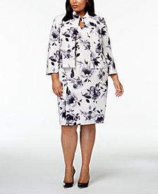 Kasper Plus Size Floral-Print Jacket & Sheath Dress