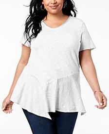 Style &  Co Plus Size Cotton Asymmetrical Flounce-Hem Top, Created for Macy's