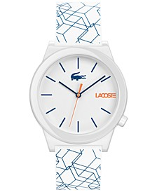 Men's Motion White Printed Silicone Strap Watch 41mm